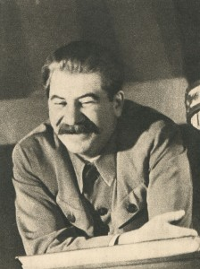 Stalin at a meeting of leaders of livestock).