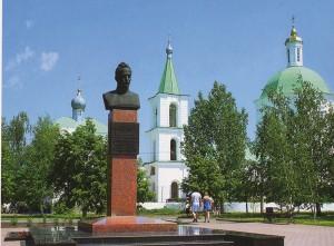 Die Bronzebüste von M.A. Scholochow in der Kosakensiedlung Weschenskaja