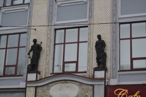 workers on the building facade.