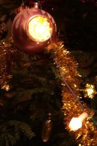 Christmas ball highlighted garland.