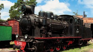 The old steam train. Steam locomotive in perfect condition.