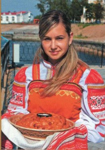 Bread and salt from the Russian beauty