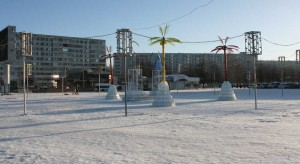 Naberezhnye Chelny on the background of snow and minus 30