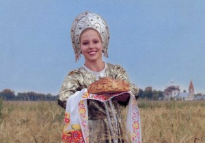 Russian beauty with bread and salt.