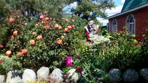 Baba Yaga is buried in flowers.