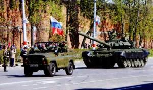 Tank on Minin square. Nizhny Novgorod. Russian military equipment.