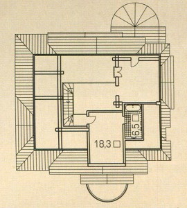 The plan of the 3rd floor of a wooden house