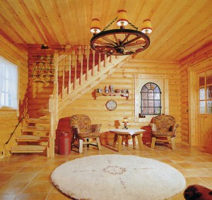 in a wooden house