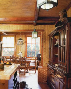 The kitchen is made of wood and stone.