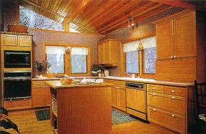 Kitchen: flooring hardwood species, mahogany furniture, with cedar ceilings and Windows to ridge create a unique comfort