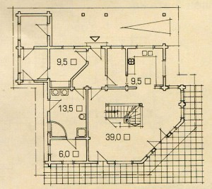 Plan 1st floor of the wooden house.