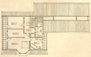 Plan 2 storey wooden house.