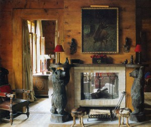 Fireplace with bears.