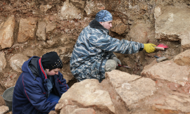 Archaeologists dig up 17th century stone bridge in downtown Moscow