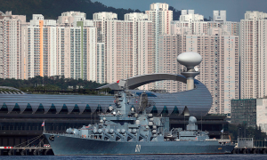 Russian-Navy's-Slava-class-guided-missile-cruiser-Varyag,-the-flagship-of-the-Russian-Pacific-Fleet,-docked-at-Kai-Tak-Cruise-Terminal-for-an-unofficial-five-day-visit-to-Hong-Kong