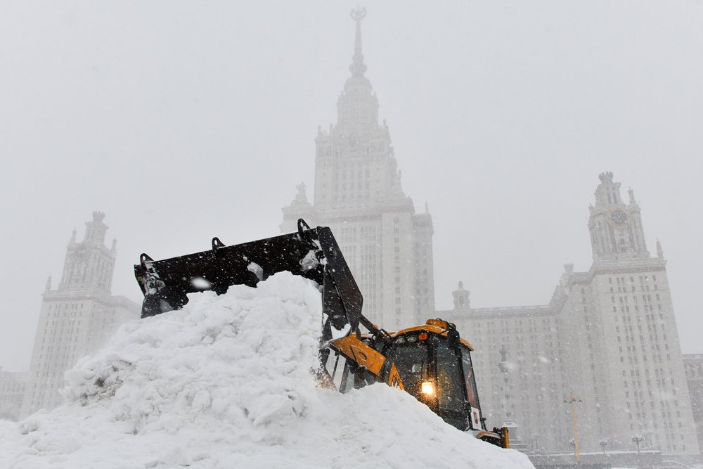 At Moscow State University, a tractor does the heavy work.