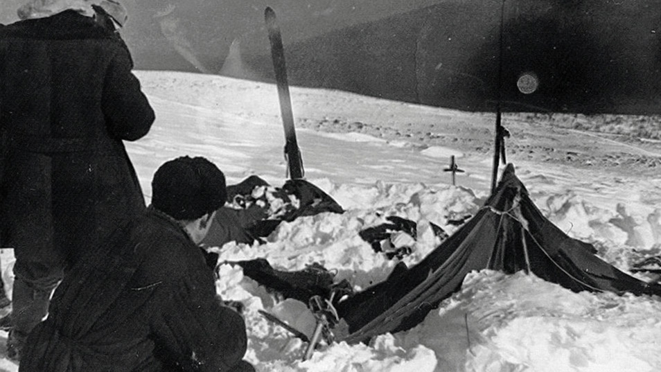 The group's tent was found abandoned in the snow; cut open from the inside.