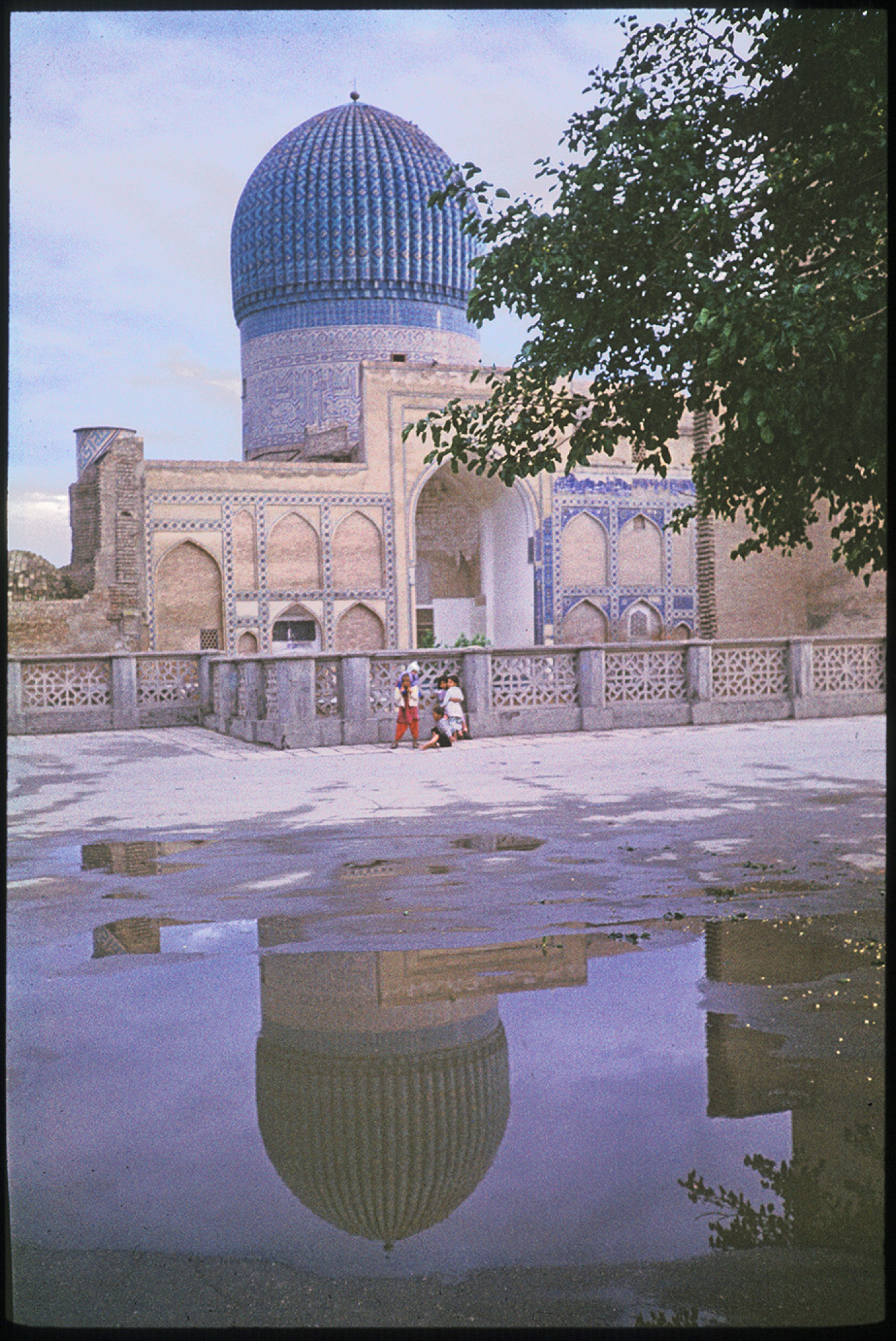 Gur Emir, Samarkand, west view after thunderstorm, May 1972. WC Brumfield/Duke University Press