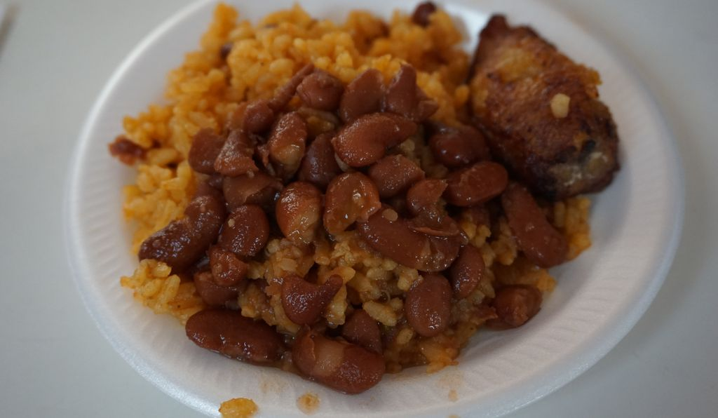 Chicken, beans and rice.