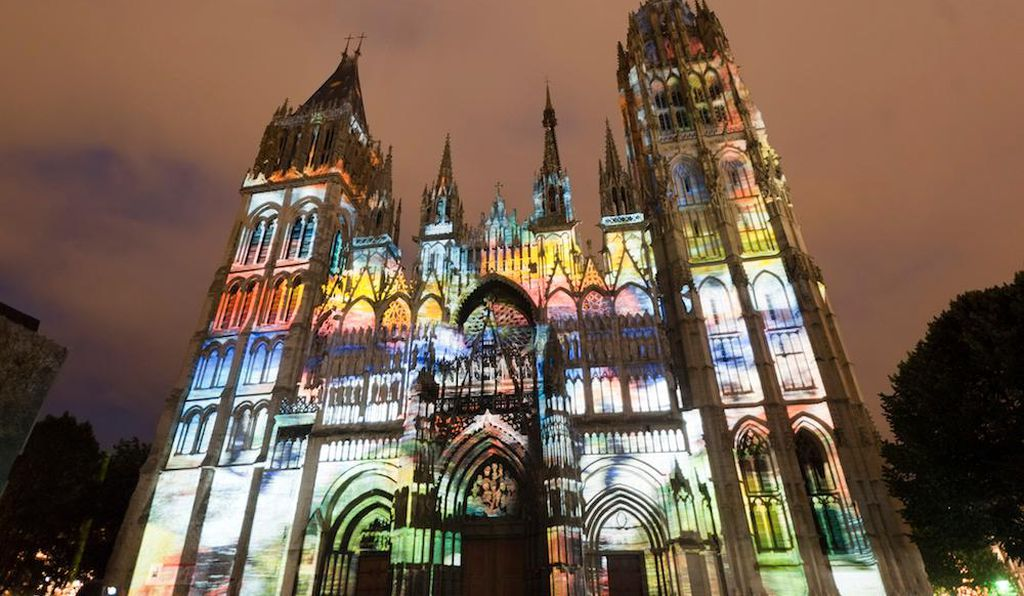 Every night throughout summer, the Rouen Cathedral of Notre Dame is a riot of colors.