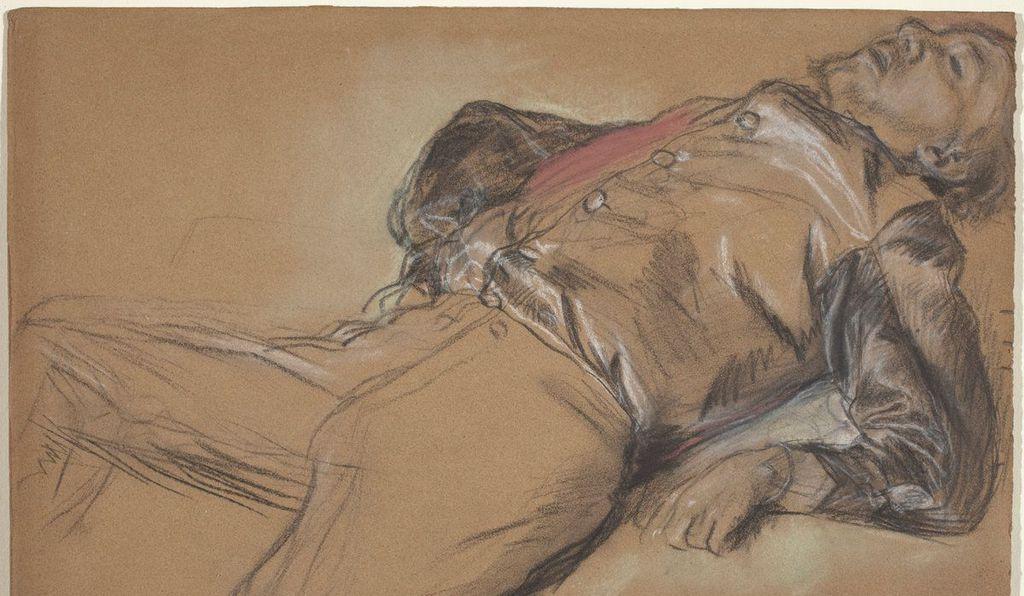 <i>Fallen Jockey</i>, c. 1866. Chalk and pastel on wove paper.