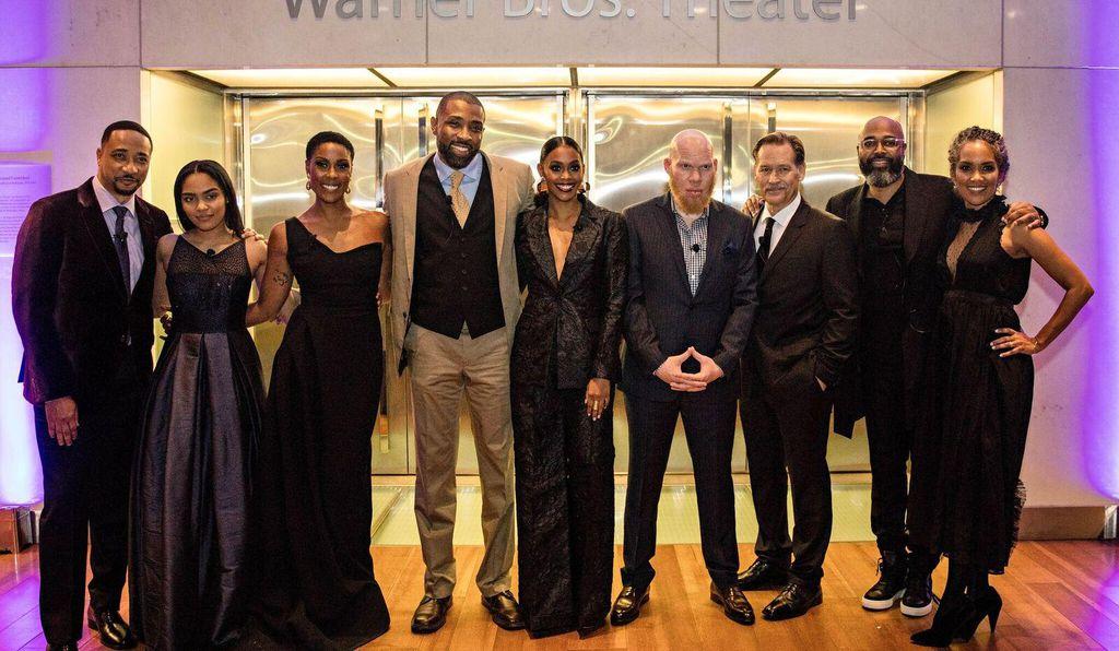 From left to right: actors Damon Gupton, China Anne McClain, Christine Adams, Cress Williams, Nafessa Williams, Marvin Jones III and James Remar; executive producers Salim Akil and Mara Brock Akil.