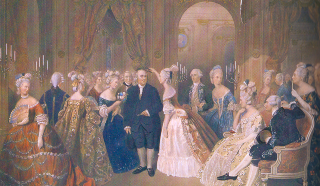 W. O. Geller: <i>Franklin Surrounded by the Ladies at Court</i>, ca. 1830. Ben Franklin may have been an adept socialite, but he was also an insatiably curious intellectual and a steadfast community leader.