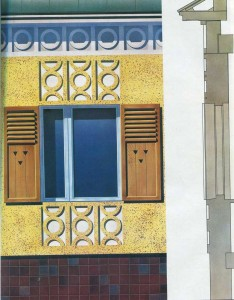 Window frames in the panel shutters with decorative relief.