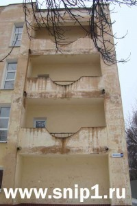 The taken-out balconies. Soviet period.