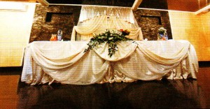 Decorated wedding table cloth.