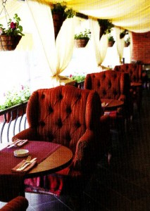 The large easy chairs on the summer terrace cafe