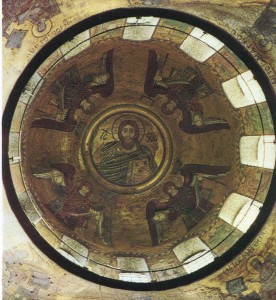 The central composition of the main dome - polufigury mosaic of Christ Pantocrator in the medallion. The medallion is encircled by ten colored circles that resemble a rainbow. Around the Christ - the four archangels, of which only one figure in blue - Mosaic, the rest having added oil in 1884 MAVrubel.
