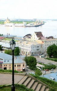 Nizhny Novgorod city on the Volga river. View from the Bank Fyodorovsky.