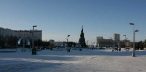 The panorama of the square Azatlyk where every year takes place the main city «Christmas tree»