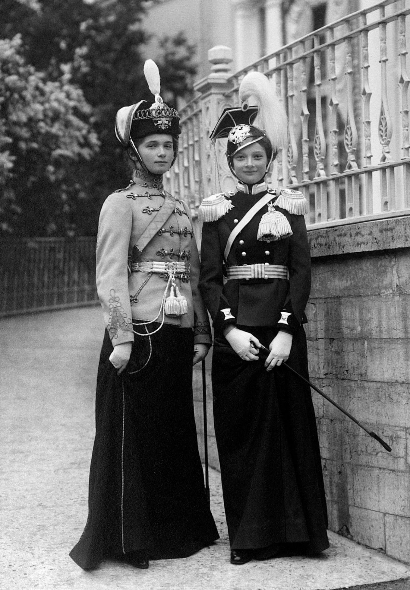 Grand Duchess Olga Nikolaevna (left) in the uniform of the Yelisavetgrad Hussars romanovempire.org