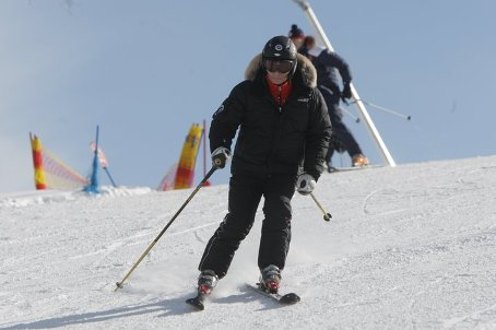 Putin is skiing